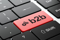 Business concept: Gears and B2b on computer. Business concept: computer keyboard with Gears icon and word B2b, selected focus on enter button, 3d render Royalty Free Stock Photo