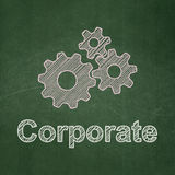 Business concept: Gears and Corporate on. Business concept: Gears icon and text Corporate on Green chalkboard background, 3d render Royalty Free Stock Photos