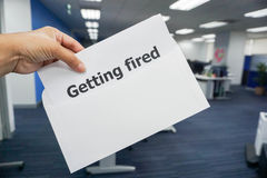 Business concept of getting fired letter in office Royalty Free Stock Images