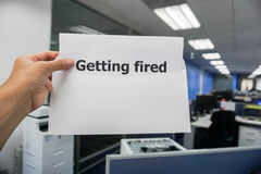 Business concept of getting fired notification letter to the employee. In office Royalty Free Stock Photography