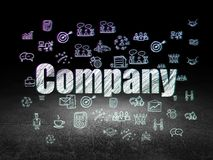 Business concept: Company in grunge dark room. Business concept: Glowing text Company,  Hand Drawn Business Icons in grunge dark room with Dirty Floor, black Royalty Free Stock Photo