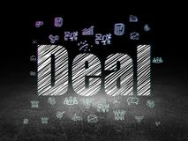 Business concept: Deal in grunge dark room. Business concept: Glowing text Deal,  Hand Drawn Business Icons in grunge dark room with Dirty Floor, black Stock Image