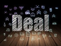 Business concept: Deal in grunge dark room. Business concept: Glowing text Deal,  Hand Drawn Business Icons in grunge dark room with Wooden Floor, black Royalty Free Stock Photography