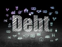 Business concept: Debt in grunge dark room. Business concept: Glowing text Debt,  Hand Drawn Business Icons in grunge dark room with Dirty Floor, black Stock Images