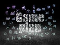 Business concept: Game Plan in grunge dark room. Business concept: Glowing text Game Plan,  Hand Drawn Business Icons in grunge dark room with Dirty Floor, black Stock Image