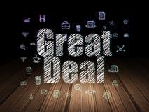 Business concept: Great Deal in grunge dark room. Business concept: Glowing text Great Deal,  Hand Drawn Business Icons in grunge dark room with Wooden Floor Stock Photos