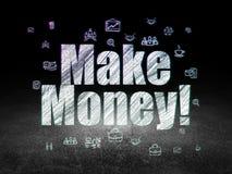 Business concept: Make Money! in grunge dark room. Business concept: Glowing text Make Money!,  Hand Drawn Business Icons in grunge dark room with Dirty Floor Royalty Free Stock Photos