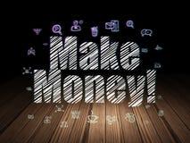 Business concept: Make Money! in grunge dark room. Business concept: Glowing text Make Money!,  Hand Drawn Business Icons in grunge dark room with Wooden Floor Royalty Free Stock Images