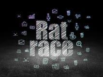 Business concept: Rat Race in grunge dark room. Business concept: Glowing text Rat Race,  Hand Drawn Business Icons in grunge dark room with Dirty Floor, black Royalty Free Stock Image