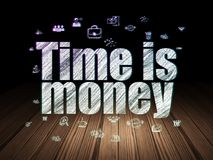Business concept: Time is Money in grunge dark room. Business concept: Glowing text Time is Money,  Hand Drawn Business Icons in grunge dark room with Wooden Stock Photos