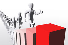 Business Concept Going Up Human Figures 3D render. Career, company Stock Photo