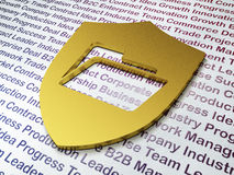 Business concept: Golden Folder With Shield on Business background. 3d render Stock Photo