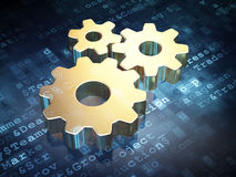 Business concept: Golden Gears on digital. Background, 3d render Royalty Free Stock Photos