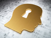 Business concept: Golden Head Whis Keyhole on digital background. 3d render Royalty Free Stock Photo