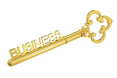 Business concept with golden key, 3D rendering Royalty Free Stock Image