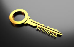 Business concept, Golden key with word business. 3D Illustration Stock Image