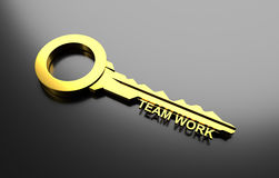 Business concept, Golden key with word Team work. 3D Illustration. Business concept, Golden key with word Team work Royalty Free Stock Images