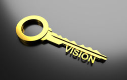 Business concept, Golden key with word vision. 3D Illustration Stock Photography