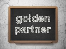 Business concept: Golden Partner on chalkboard background. Business concept: text Golden Partner on Black chalkboard on grunge wall background, 3D rendering Stock Images