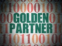 Business concept: Golden Partner on Digital Data Paper background. Business concept: Painted green text Golden Partner on Digital Data Paper background with Stock Photography