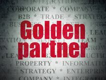 Business concept: Golden Partner on Digital Data Paper background. Business concept: Painted red text Golden Partner on Digital Data Paper background with   Tag Stock Images