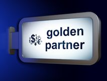 Business concept: Golden Partner and Finance Symbol on billboard background. Business concept: Golden Partner and Finance Symbol on advertising billboard Royalty Free Stock Photos