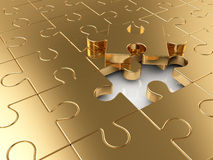 Business concept. Golden puzzle business concept background Stock Images
