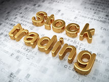 Business concept: Golden Stock Trading on digital. Background, 3d render Stock Photos