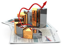 Business concept. Graph and business plan. 3d Stock Image