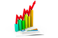 Business concept. graph and charts. 3d render of Business concept. graph and charts Royalty Free Stock Photography