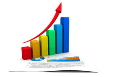 Business concept. graph and charts. 3d render of Business concept. graph and charts Royalty Free Stock Image