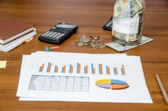 Graph with money, calculator and pen. Business concept - graph with money, calculator and pen Royalty Free Stock Image