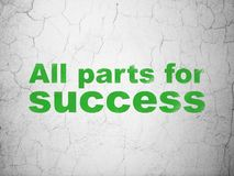Business concept: All parts for Success on wall background. Business concept: Green All parts for Success on textured concrete wall background Royalty Free Stock Photo