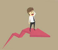 Business concept in growth economic or financial situation. busi. Nessman riding on rising arrow graphs VECTOR Royalty Free Stock Photo