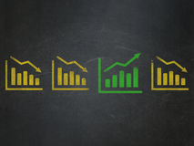Business concept: growth graph icon on School. Business concept: row of Painted yellow decline graph icons around green growth graph icon on School Board Stock Photography