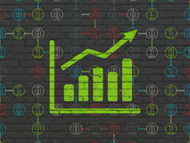 Business concept: Growth Graph on wall background. Business concept: Painted green Growth Graph icon on Black Brick wall background with Scheme Of Binary Code Stock Images