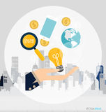 Business concept. Hand with business items (mobile phone, globe, Stock Image