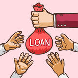 Business concept hand giving loan to other hand Royalty Free Stock Photos