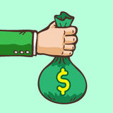 Business concept hand giving money. For design Stock Image