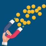 Business concept of hand hold magnet attract bitcoins.Vector Illustration. EPS10 Stock Photos