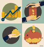 Business concept. Hand and Piggy bank with money coins. Vector i Royalty Free Stock Images