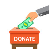 Business concept hand putting money in the donation box Royalty Free Stock Photos