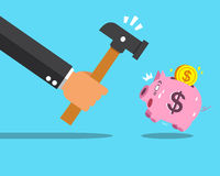 Business concept hand try to smashing pink piggy bank Royalty Free Stock Photo