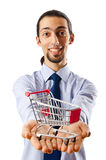 Business concept - Hands holding shopping cart Royalty Free Stock Photo