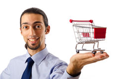 Business concept - Hands with shopping cart Stock Image