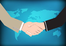 Business concept handshake on world map background Stock Photos