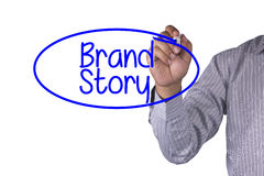 Business concept handwriting marker and write Brand Story Royalty Free Stock Photography