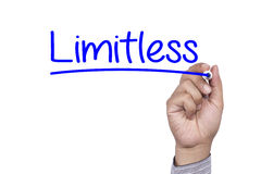 Business concept handwriting marker and write Limitless Preparate Stock Photos