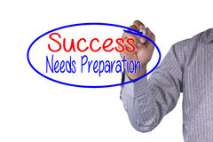 Business concept handwriting marker and write Success Needs Preparation Stock Photo