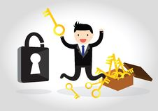 Business Concept. Business happy to be able to unlock with a key Royalty Free Stock Images